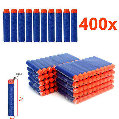 400x Bullet Refill Darts For NERF Kids Toy Gun N-Strike Round Head Blasters Blue