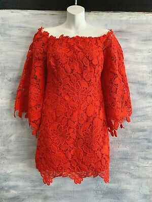 FREE PEOPLE 'Dusk' Off-the-Shoulder Lace Sheath Dress, 2 - Fiestared Red - $250
