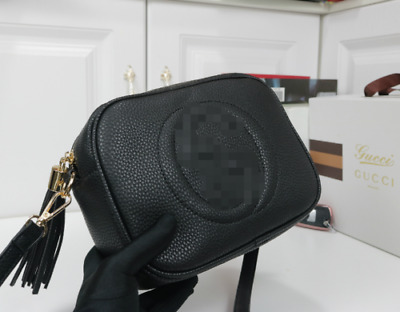 UK  Fashion Women Ladies Black Quilted Leather Shoulder Messenger Bag Letter G
