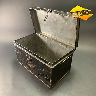 Vintage Victorian Steel Strong Box Trunk Chest Box Tool Safe Industrial Rustic