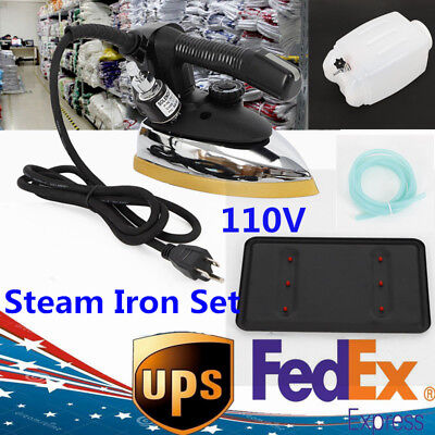 110V Gravity Feed Steam Iron Gravity System Industrial Iron Mahine+ water bottle