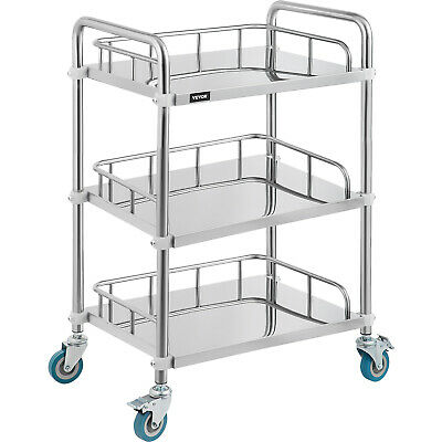 3 Layers Serving Medical Dental Lab Cart Stainless Steel with Protective rail