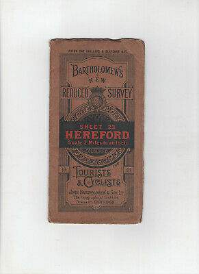 VINTAGE BARTHOLOMEWS ROAD MAP - No.23 HEREFORD - FOR TOURISTS & CYCLISTS c.1905