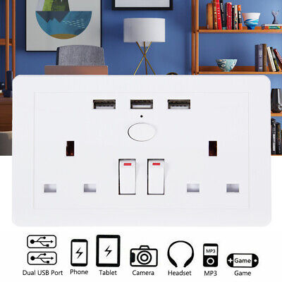 13A White Wall Socket Double Gang + 3 USB Ports Charger UK Plug Plate Outlets