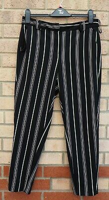 Dorothy Perkins Black White Green Striped Formal Tailored Trousers Pants 12