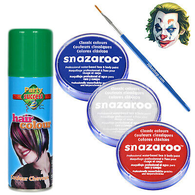Joker Joaquin Phoenix Halloween Fancy Dress Makeup Kit Clown Facepaint Hairspray