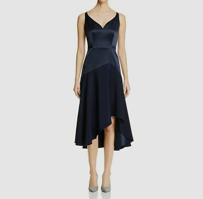 New $850 Elie Tahari Women'S Blue Asymmetric Sweetheart Sleeveless Dress Size 14