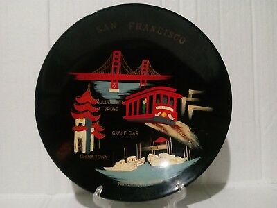 Vintage San Francisco Souvenir Hand Painted Hard Plastic Bowl 7 3/4 X 1 1/2""