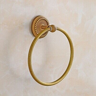 Bathroom Towel Holder Ring Wall-Mounted Round Antique Brass Towel Ring Towe R7B6