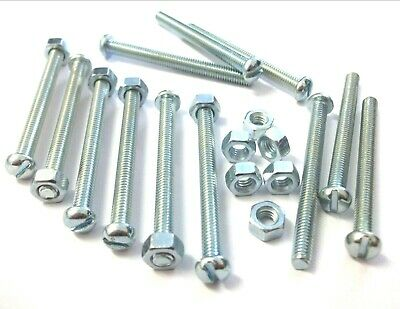 2BA 25mm Steel BA Slotted Round Head Machine Bolt Screw With Nuts Pack Of 5
