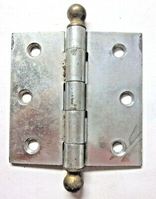 "1 Antique McKinney Square 3"" Cabinet Mortise Hinge Ball Tips 2 Tone Nickel Brass"