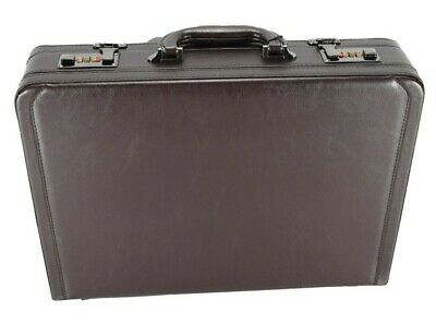 Professional Mens Leather Executive Dark Brown Briefcase with Combination Locks