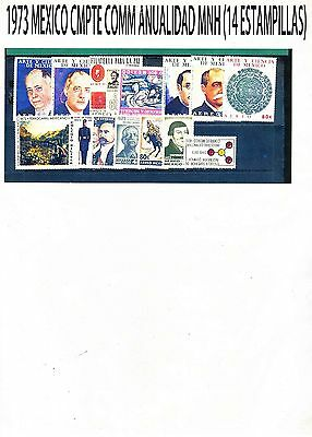 COMPLETE 1973 MEXICO Collection Commemorative  Year MNH (14 Stamps)