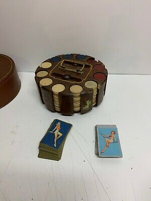 Vintage Drueke 1600 Poker Chips Clay Poker Chip Carousel 1930's Cards Free  Ship