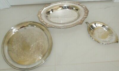 LOT of 3 Silver Plated TRAY VINTAGE GORHAM ROUND & OVAL SHAPE FOOTED