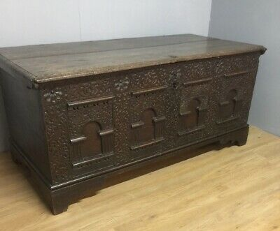 Huge Country House Carved Oak Coffer Late Seventeenth Century