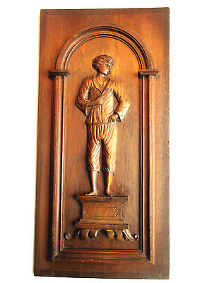 French carved wooden door panel - Breton man on a pedestal, circa 1900