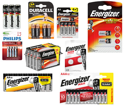 Energizer, Philips, duracell Alcaline Piles AAA / Aa (LR3/6), LR1,A23,CR2025