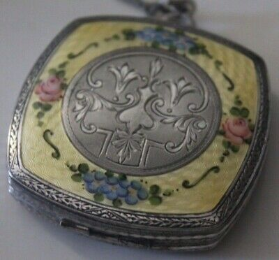 Vintage Finger Ring Compact FM Co.Guilloche Enamel