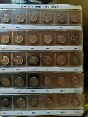 1946-1996 Complete Roosevelt Dime Set-All Silver Proofs-Grades Fine to Gem BU