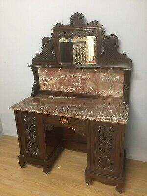 Art Nouveau Carved Mahogany Marble Topped Washstand