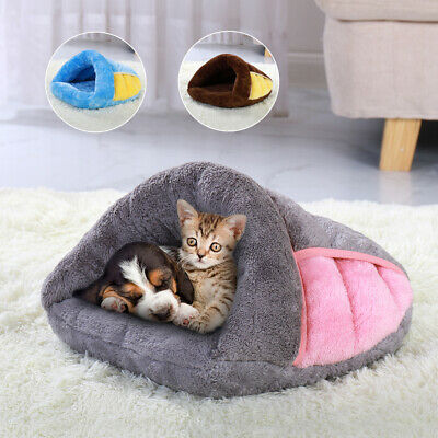 Warm Pets Cave Bed Small Dog Cat Fleece Sleep House Cozy Nest Kennel Igloo Crate