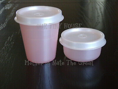 New TUPPERWARE SMIDGET and Midget SET Spice Dressing Mini Smidgets Pill Box PINK