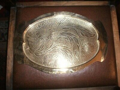 Antique Arts and Crafts Brass Tray with Sunflower Decoration 41 cm