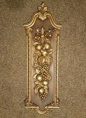 """Vintage 1974 Syroco plastic Wall Plaque 41.5"""" Fruit #7304 Hollywood Regency gold"""