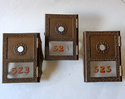 3 Vintage YALE Brass Bronze Post Office Doors Front MailBox Wagon Wheel NO LOCKS