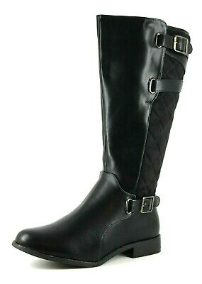 Evans Lolly Womens UK 5 EEE Extra Wide Black Quilted Leatherette Knee High Boots