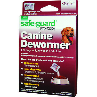 New Merck Safeguard Dog Dewormer 40 Lbs/3 Pack