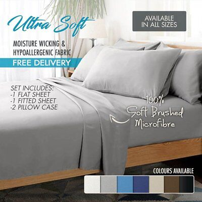 1800TC Ultra SOFT - 4 Pcs Flat & Fitted Sheet Set Queen/King/Super King Size ej
