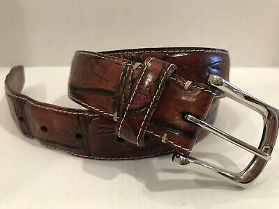 Reversible Black to Brown 55760 Torino Men/'s Italian Embossed Gator Calfskin
