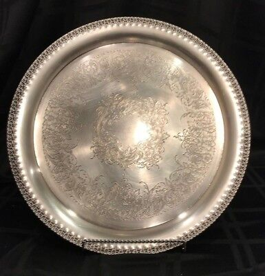 """Vintage Wilcox Silver-plated Serving Tray Rose Marie Pattern 14 1/4"""""""