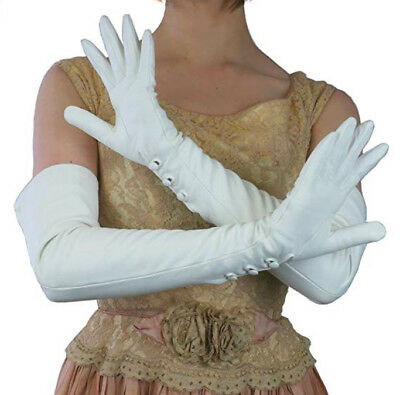 """women 70cm(27.6"""")long wrist three leather covered buttons opera long gloves"""