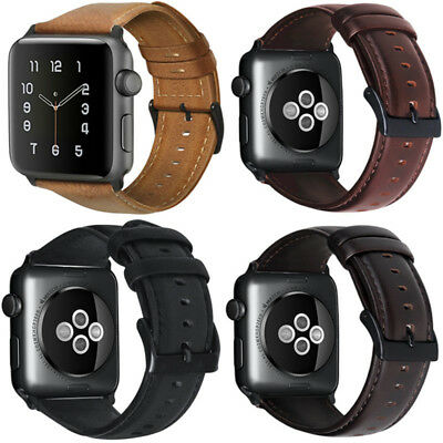 40/44mm Genuine Leather iWatch Band Strap Bracelet Fr Apple Watch Series 5 4 3 2