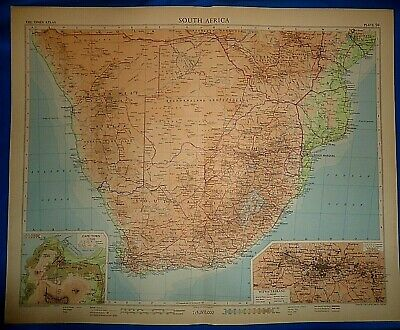 Vintage Circa 1956 SOUTH AFRICA MAP Old Original Folio Size Free S&H
