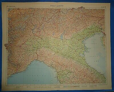 Vintage Circa 1956 NORTH ITALY MAP Old Original Folio Size Atlas Map Free S&H