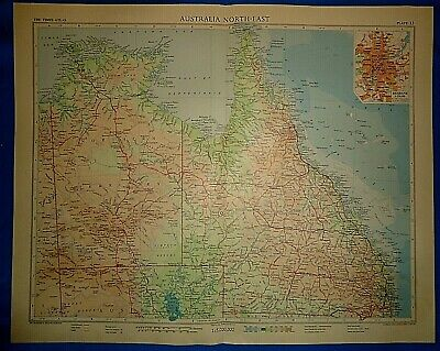 Vintage Circa 1958 N-E AUSTRALIA MAP Old Original Folio Size Atlas Map Free S&H