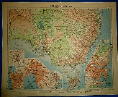 Vintage Circa 1958 SE AUSTRALIA MAP Old Original Folio Size Atlas Map Free S&H