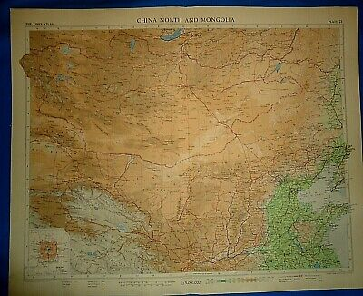 Vintage Circa 1958 N CHINA - GREAT WALL MAP Old Original Folio Size Free S&H