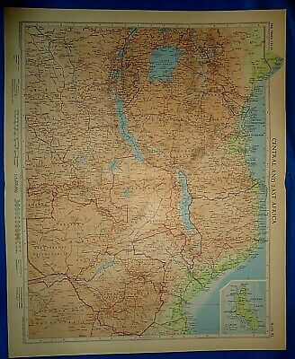 Vintage Circa 1956 CENTRAL - EAST AFRICA MAP Old Original Folio Size Free S&H