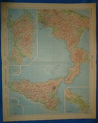 Vintage Circa 1956 SOUTH ITALY MAP Old Original Folio Size Atlas Map Free S&H