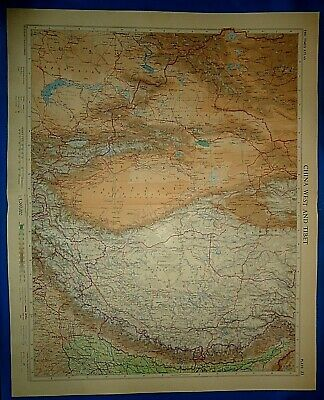Vintage Circa 1958 WEST CHINA - TIBET MAP Old Original Folio Size Free S&H