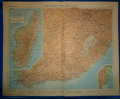 Vintage Circa 1956 CAPE of GOOD HOPE AFRICA MAP Old Original Folio Size Free S&H