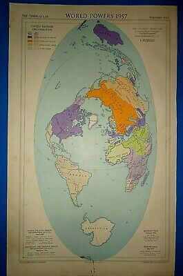 Vintage Circa 1958 -- 1957 WORLD POWERS MAP Old Original Folio Size Free S&H