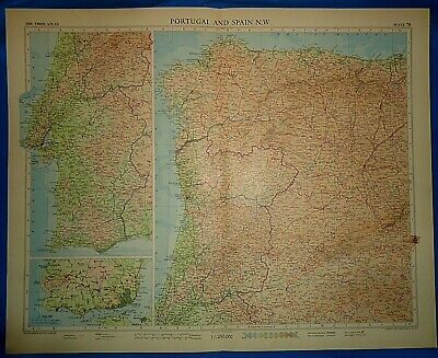 Vintage Circa 1956 NW PORTUGAL - SPAIN MAP Old Original Folio Size Free S&H