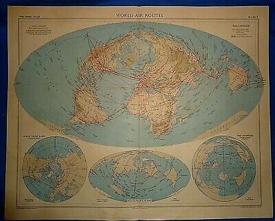 Vintage Circa 1958 WORLD AIR ROUTES MAP Old Original Folio Size Free S&H
