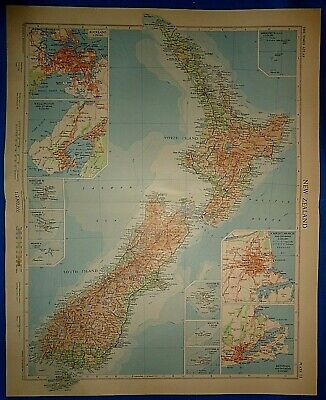Vintage Circa 1958 NEW ZEALAND MAP Old Original Folio Size Atlas Map Free S&H